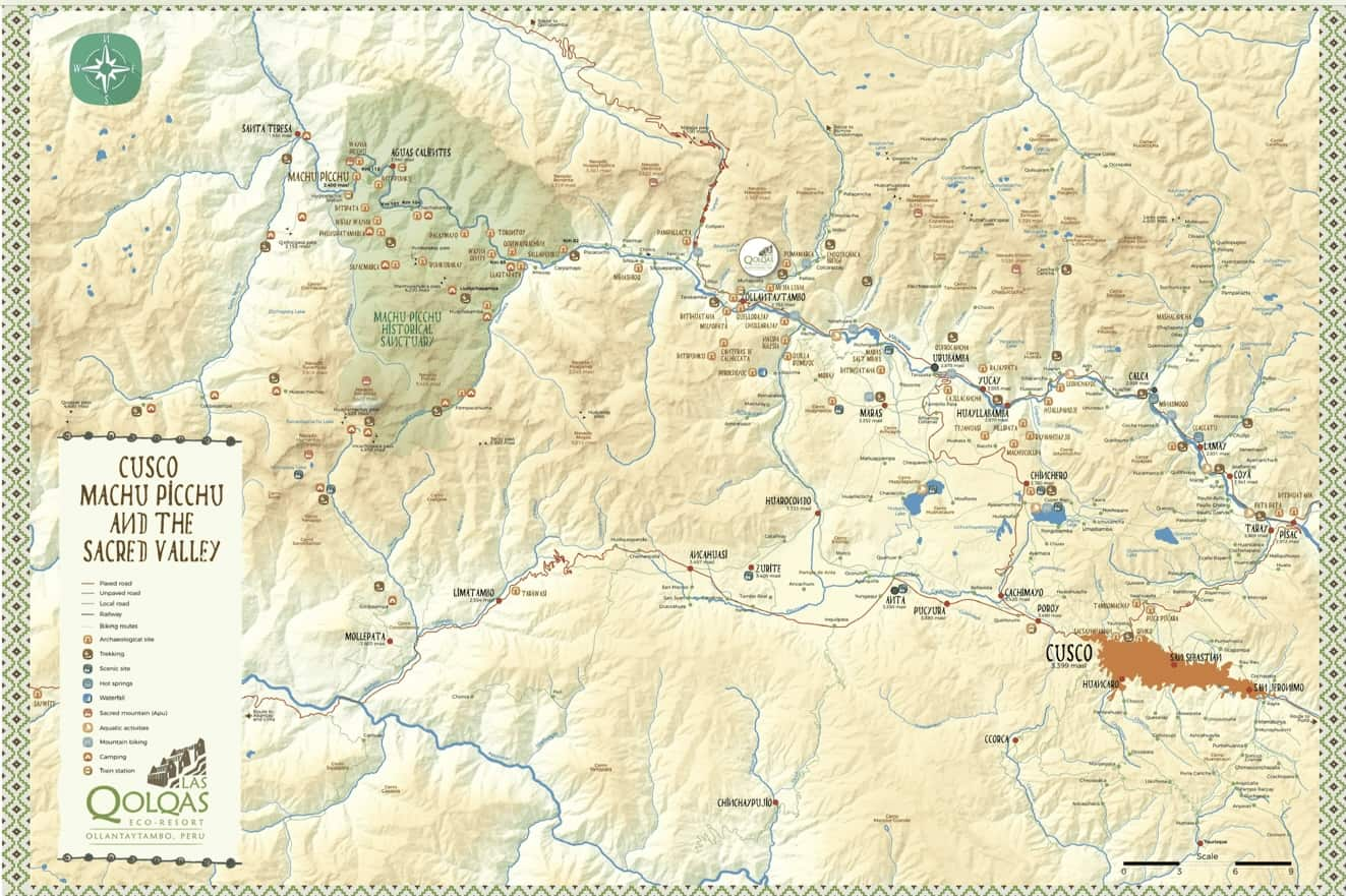 Map of The Sacred Valley Peru