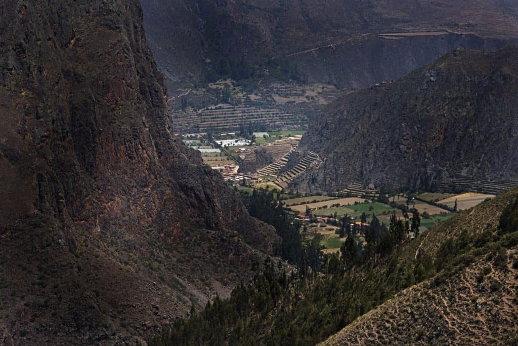 Overview of Ollantaytambo ruins in the sacred valley peru